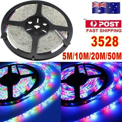 5M-50M 3528 SMD 300 LED Strip light Flexible Lights RGB Car Christmas Decor 12V