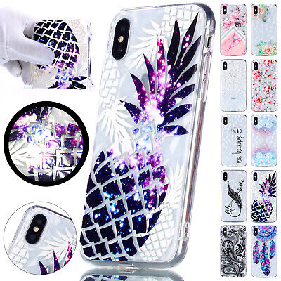 For iPhone XS MAX X 7 8 6 Plus Silicone Soft Rubber Crystal Diamond Case Cover