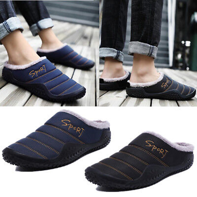 Men's Home Winter Warm Slippers Waterproof Cloth Comfy Soft Plush Slip On Shoes