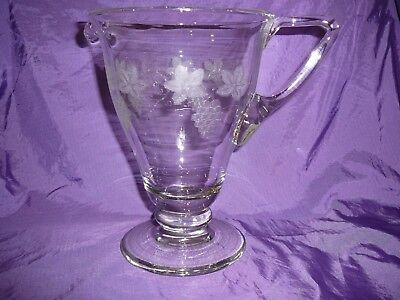 Bohemia Crystal Jug Art Nouveau Large Etched Grapevine Bar Drinks Collectable