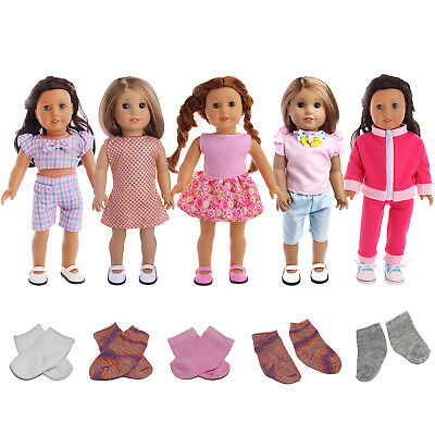 5Sets Handmade Costumes Gown Clothes Dress Pants + 3 Socks for 18 inch Doll Gift