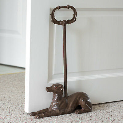 Heavy Cast Iron Dog Door Stop Tall Handle Vintage Animal Whippet Wedge Stopper