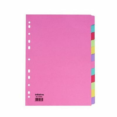 12 Part Subject Filing File Dividers A4 Multi Punched Coloured Manilla Card