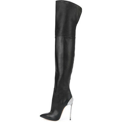 Fashion Womens Leather Thigh Boots High Stilettos Heels Over Knee Casual Shoes