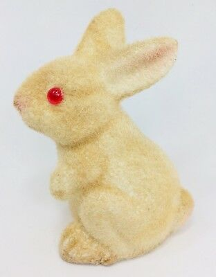 Vintage Flocked Plastic Rabbit Bunny Baby EASTER Red Eyes Cream
