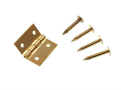Pair Mini Solid Brass Jewelry Box Hinges 25Mm Plus  Pins