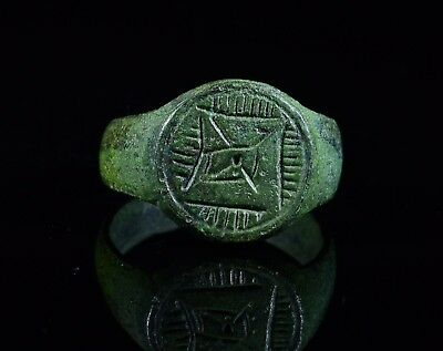 Medieval Crusaders Period Ring With Intricate Star Of Bethlehem Motif - T60