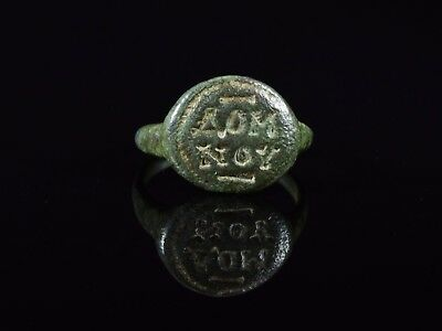 Medieval Period Bronze Ring With Religious Inscription On Bezel - T64