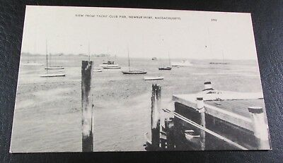 Old Postcard<NEWBURYPORT, MASSACHUSETTS >{EARLY 1900 VIEW FROM YACHT CLUB PIER}