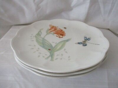 Lenox Butterfly Meadow Monarch Dragonfly lot of 3 white salad dessert plates