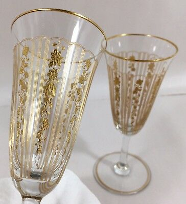 2 Vtg Champagne Flute Wine Stem Glasses Etched Gold Encrusted Leaf & Floral RARE
