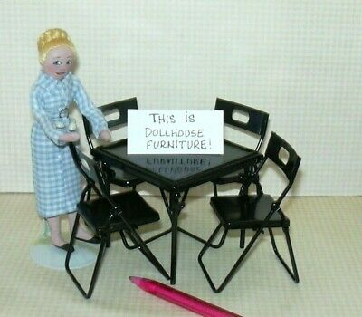 Miniature Black Folding Metal Card Table w/4 Chairs: DOLLHOUSE 1:12 Scale