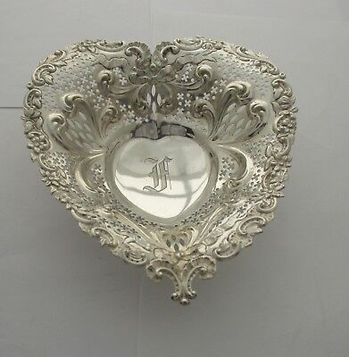 Gorham Sterling, Art Nouveau, Reticulated, Footed Heart Shaped Bowl