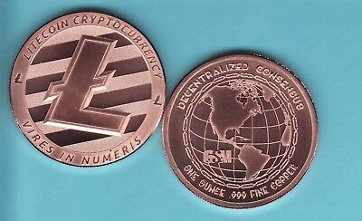 LITE COIN CRYPTO CURRENCY  1 oz. Copper Round  DECENTRALIZED SERIES from  GSM