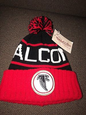 online store 9d963 b038e NWT Mitchell   Ness Adult NFL Atlanta Falcons Team Colors Cuffed Pom Hat Red