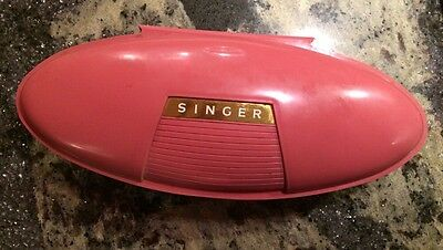 Singer Salmon Pink Buttonholer 1960 Portable Retro w/Instructions