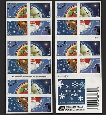 🎄Christmas Carols USPS Forever Stamps Book of 20  Four New Stamps 2017 Release