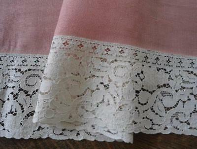 """Vintage Pink Mauve Linen Table Runner Wide Ecru Embroidered Lace 42"""""""