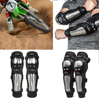 4Pc Motorcycle Elbow Knee Pad Stainless Steel Bike Protector Gear Shin Guard Set