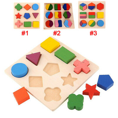 Kids Baby Wooden Learning Geometry Educational Toys Puzzle Montessori Kids Gift