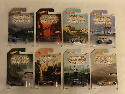 Set of 8 THE WORLDS OF STAR WARS Hot Wheels die cast cars - MOC