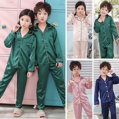 Boys Girls Silk Satin Pajamas Pyjamas Kids Long Sleeve Sleepwear Nightwear Set