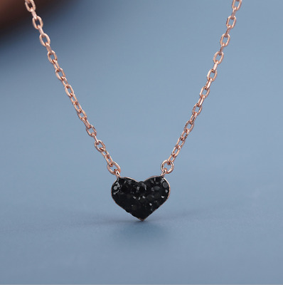 Rose Gold Sterling Silver Necklace Black CZ Stones Heart Pendant Gift Box PE20
