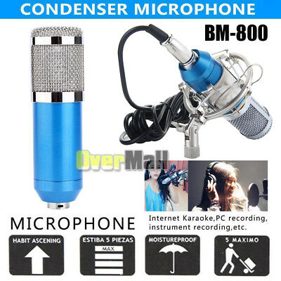 BM-800 Condenser Microphone Studio KTV Recording 3.5mm Mic With Shock Mount Blue