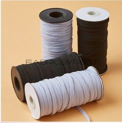 Elastic Sewing Band Flat Woven Cord Multiple Widths  in Black & White