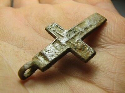 Rare. Solid ! Big ! Authentic ! Late Medieval Orthodox Bronze Cross Pendant #826