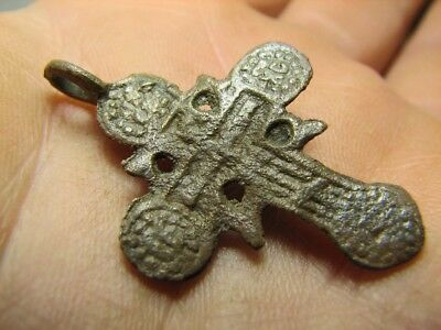 Rare ! Big ! Authentic ! Late Medieval Orthodox Bronze Cross Pendant #827