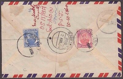 Malaya Johore 1954 2 Values On Airmail Cover To Travancore India State