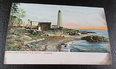 Old Postcard<NEW HAVEN HARBOR, CONNECTICUT>{ THE OLD LIGHT HOUSE}