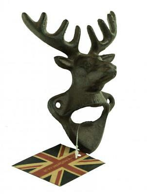 e2e Rustic Vintage Cast Iron Stag Head Design Wall Mounted Beer Bottle Opener