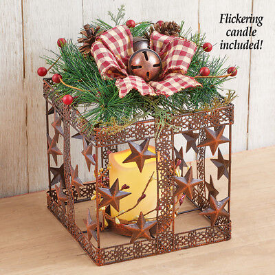 Lighted Christmas Pinecone Candle Holder Box Winter Holiday Table Centerpiece