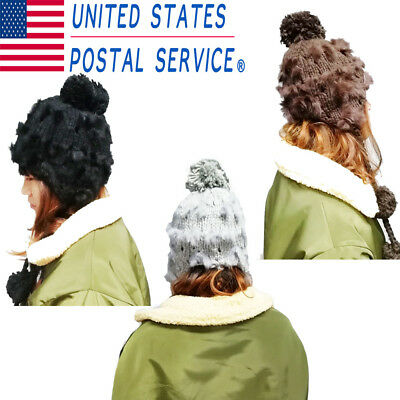 Women Ear Flap Wool Winter Faux Rabbit Hair Knit Beanie Ski Hat Cap w/ Ball Warm