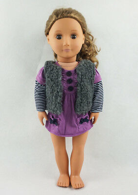 Fit For 18'' American Girl Gift Purple Striped Tops With Vest Coat Doll Clothes