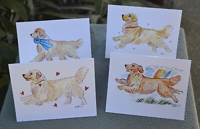 Golden Retriever.Post cards made from my original watercolor.Set of 4 .!
