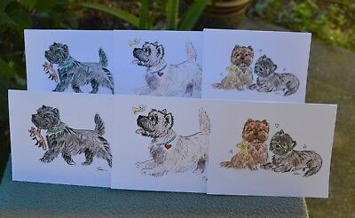 Cairn terrier .Post cards made from my original watercolor.Set of 6 .!