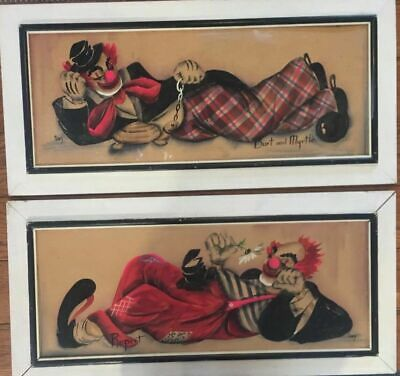 Vintage Hand Painted Clown Art Signed G Inez Franklin Original Kitschy Hipster
