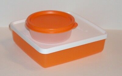 Tupperware Orange Square Away Sandwich Keeper Half Snack Cup Set