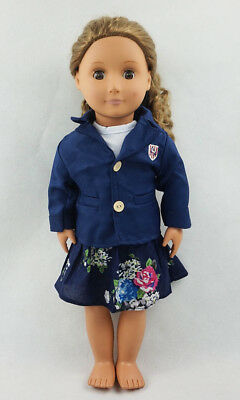Fit For 18'' American Girl Floral Skirt White T-shirt Blue Coat Set Doll Clothes