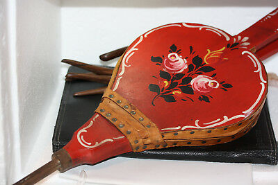 Vintage Antique Wood Leather Fireplace Pump Bellows Blower Painted Flower Design