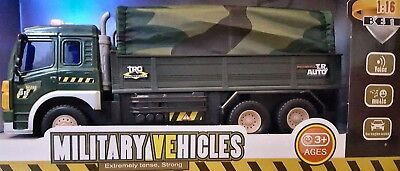 Friction Powered Large Military Truck Toy Lights & Sounds Boys Girls Toys 1:16