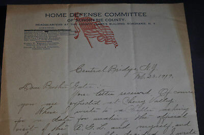 1919 Home Defense Committee of Schoharie County [NY] Letterhead