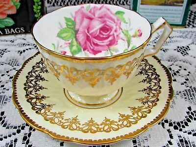 Aynsley Pink Cabbage Rose Fancy Gold Designs Cream Tea Cup & Saucer