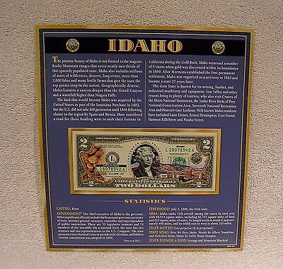 Idaho  $2 Two Dollar Bill - Colorized State Landmark - Uncirculated Authentic