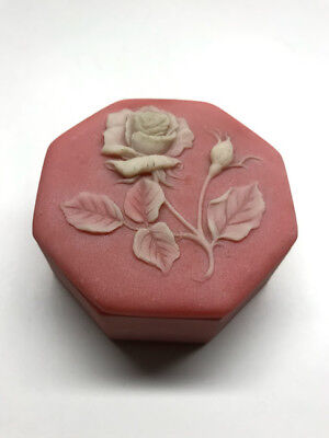 Pink Flower Jewelry Box Stone Incolay Vintage Octagon Raised White Rose Desgin
