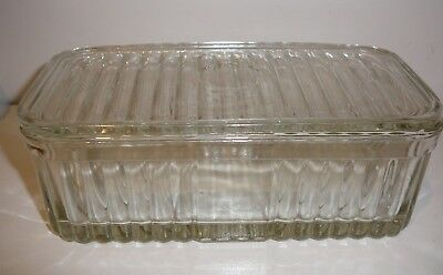 Depression Glass Cheese Butter Dish with Lid Vintage