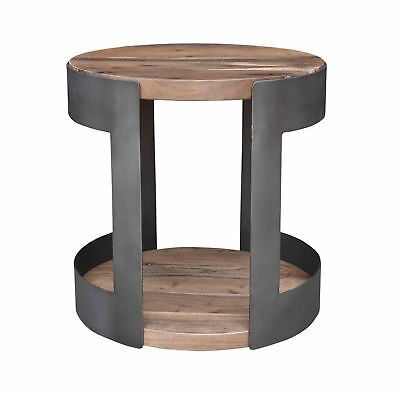 """Moes Home Collection VE-1035 Brown April 20"""" Wide Iron Frame Wood Accent Table"""